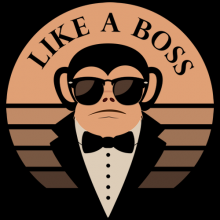 like a boss cool retro vintage monkey wearing sunglasses