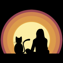 A lady and a cat sitting watching sun at sunset t-shirts
