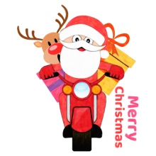 Santa Claus and reindeer motorcycle present delivery Christmas gifts