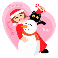 Santa is a girl hugging a snowman and a black cat Christmas gifts