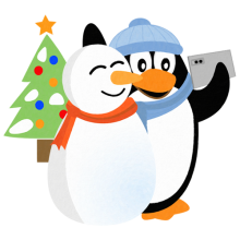 Penguin and Snowman Taking Selfie with Christmas Tree T-shirts and gifts