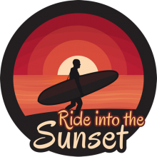 Ride into the sunset surfer with surfing board
