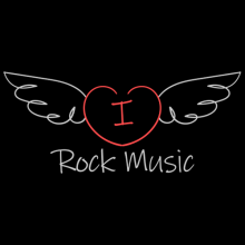 I love rock music heart with wings