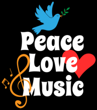 Peace love music dove heart music symbol