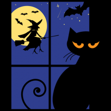 Halloween black cat at window witch on full moon