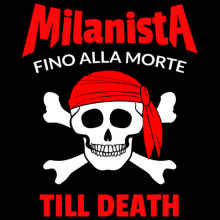 Milanista fino alla morte till death skull and bones