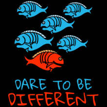 One fish swim in different direction dare to be different concept