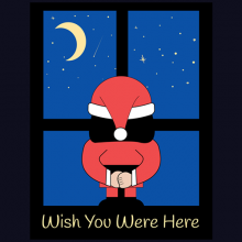 Santa Claus Standing At Window I Wish You Were Here For Christmas