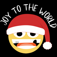 Joy To The World Christmas smiley face with Santa hat
