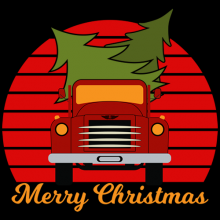 Vintage red old truck with Christmas tree in back