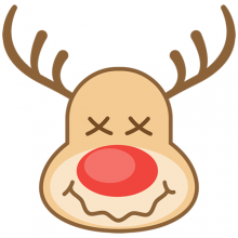 Christmas reindeer with crossed out eyes and drooling mouth