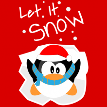 Christmas Santa Penguin Let It Snow