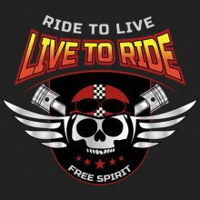 Ride to Live Live to Ride Motorcycle Biker Skull Tees
