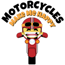 Biker Smiley emoticon riding his bike Motorcycles Make Me Happy