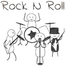 Simple stick figure rock n roll band simple line drawing