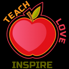 Teach Love Inspire Teacher apple with heart tees