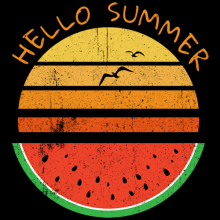 Hello summer watermelon vintage sunset with grunge texture