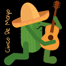 Cinco De Mayo Mexican cactus with hat and guitar tees