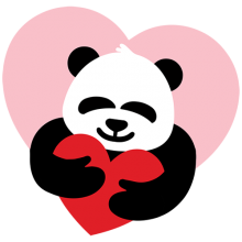 Cute Panda holding care love heart tees