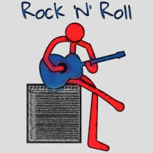 Rock and Roll stick figure guitarist sitting on amplifier