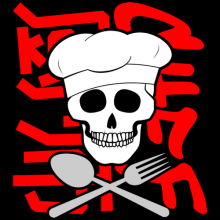 Chef skull fork and spoon English and Chinese text T-shirts gifts