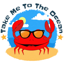 Crab with sunglasses at beach take me to the ocean t-shirts