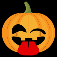 Winking pumpkin with tongue sticking out Halloween t-shirts and gifts