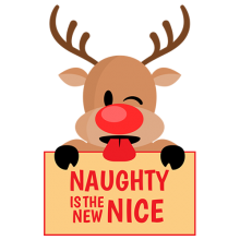 Reindeer with Stuck-Out Tongue and Winking Eye Naughty is the new Nice Christmas gifts